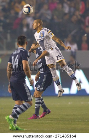 CARSON, CA. - APR 18: Rafael Garcia in action during the L.A. Galaxy game against Sporting Kansas City on April 18, 2015 at the StubHub Center in Carson, California. - stock photo