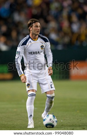 CARSON, CA. - April 23: Los Angeles Galaxy M David Beckham #23 during the MLS game between the Portland Timbers & the Los Angeles Galaxy on April 23 2011 at the Home Depot Center.