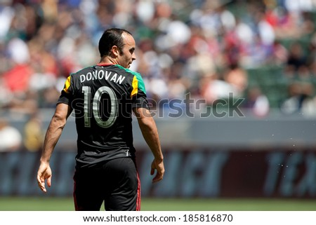 CARSON, CA - APRIL 6: Los Angeles Galaxy M Landon Donovan (10) during the MLS game between the Los Angeles Galaxy & Chivas USA on April 6th 2014 at the StubHub Center in Carson, Ca. - stock photo