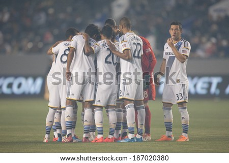 CARSON, CA - APRIL 12: Los Angeles Galaxy starting 11 during the MLS game between the Los Angeles Galaxy & the Vancouver Whitecaps on April 12th 2014 at the StubHub Center. - stock photo