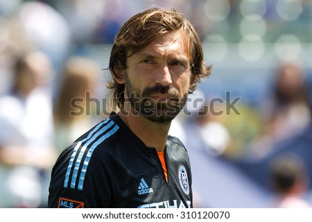 CARSON, CA. - AUG 23: Andrea Pirlo during the L.A. Galaxy game against New York City FC on Aug 23, 2015 at the StubHub Center in Carson, California. - stock photo