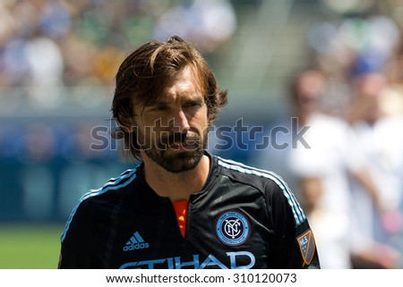 CARSON, CA. - AUG 23: Andrea Pirlo during the L.A. Galaxy game against New York City FC on Aug 23, 2015 at the StubHub Center in Carson, California.