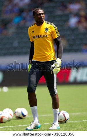 CARSON, CA. - AUG 23: Donovan Ricketts during the L.A. Galaxy game against New York City FC on Aug 23, 2015 at the StubHub Center in Carson, California. - stock photo