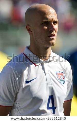 CARSON, CA. - FEB 2 : United States midfielder Michael Bradley during the USA friendly against Panama on February 2nd 2015 at the StubHub Center in Carson, California. - stock photo