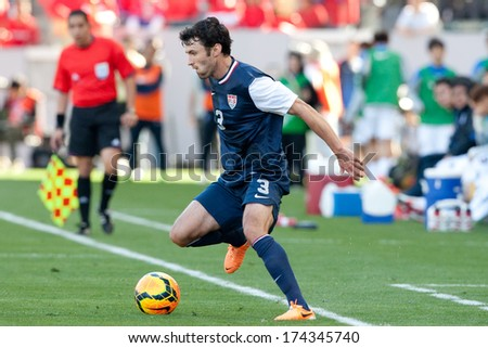CARSON, CA. - FEB 01: USA D Michael Parkhurst #3 in action during the U.S. mens national team soccer friendly against Korea Republic on Feb 1st 2014 at the StubHub Center in Carson, Ca.