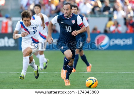 CARSON, CA. - FEB 01: USA M Landon Donovan #10 in action during the U.S. mens national team soccer friendly against Korea Republic on Feb 1st 2014 at the StubHub Center in Carson, Ca.