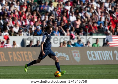 CARSON, CA. - FEB 01: USA M Mix Diskerud #8 in action during the U.S. mens national team soccer friendly against Korea Republic on Feb 1st 2014 at the StubHub Center in Carson, Ca. - stock photo