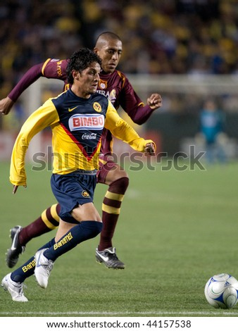 CARSON, CA. - JANUARY 9: Angel Eduardo Reyna in action during the InterLiga 2010 match of Club America and Estudiantes Tecos  at the Home Depot Center January 9, 2010 in Carson, CA. - stock photo