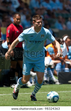 CARSON, CA. - July 24: Manchester City FC M James Milner #7 during the World Football Challenge game on July 24 2011 at the Home Depot Center in Carson, Ca.