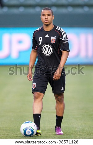 CARSON, CA. - JUNE 3: D.C. United forward Charlie Davies #9  before the Major League Soccer game between D.C. United & the Los Angeles Galaxy on June 3 2011 at the Home Depot Center in Carson, Ca.
