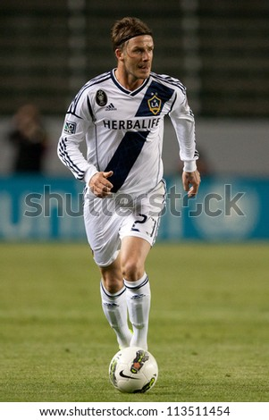 CARSON, CA - MARCH 14: David Beckham during the CONCACAF match between the LA Galaxy and Toronto FC on March 14, 2012 at the Home Depot Center in Carson, Ca. - stock photo