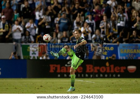 CARSON, CA - OCT 19: Chad Marshall during the Los Angeles Galaxy MLS game against the Seattle Sounders on October 19th 2014 at the StubHub Center. - stock photo
