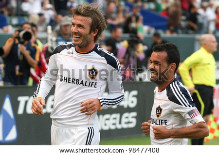 CARSON, CA. - OCT 3: Los Angeles Galaxy M David Beckham #23 during the Chivas USA vs Los Angeles Galaxy game on Oct 3 2010 at the Home Depot Center in Carson, Ca.. - stock photo
