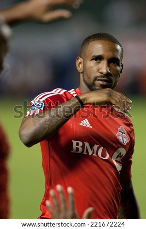 CARSON, CA - OCT 4: Toronto FC forward Jermain Defoe during the Los Angeles Galaxy MLS game against Toronto FC on Oct 4th, 2014 at the StubHub Center. - stock photo