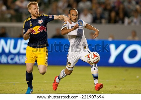 CARSON, CA - SEPT 28:  Landon Donovan in action during the Los Angeles Galaxy MLS game against the New York Red Bulls on Sept 28th, 2014 at the StubHub Center. - stock photo