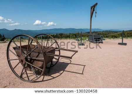 Cart and gallows in Netzweiler-Struthof concentration camp in France - stock photo