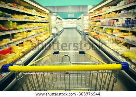 cart at the grocery store - stock photo