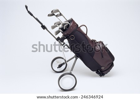 Cart Bag with Golf Clubs - stock photo