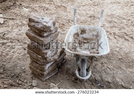 cart for construction - stock photo
