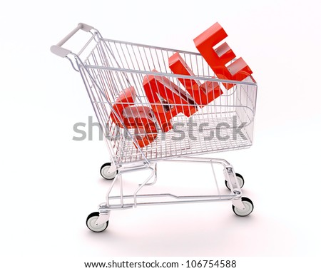 Cart for purchases and sale, a light background with shadow
