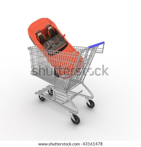 Cart from a supermarket with a gift