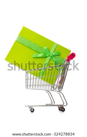 Cart in holiday shopping concept - stock photo