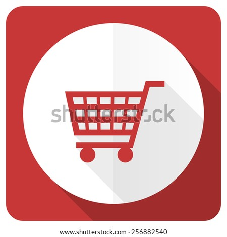 cart red flat icon shop sign  - stock photo