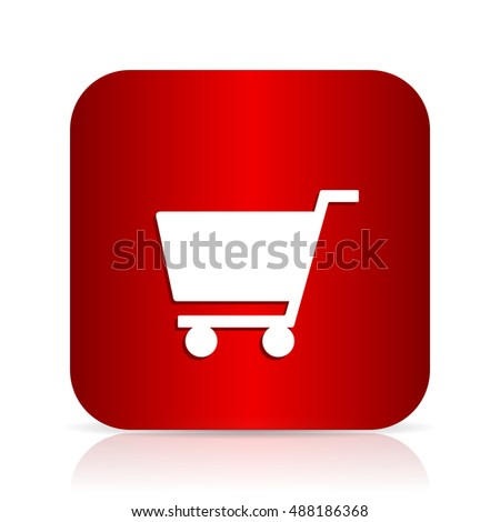 cart red square modern design icon