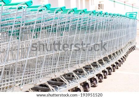 Cart , Shopping Cart ,Outdoor cart , Cart green - stock photo
