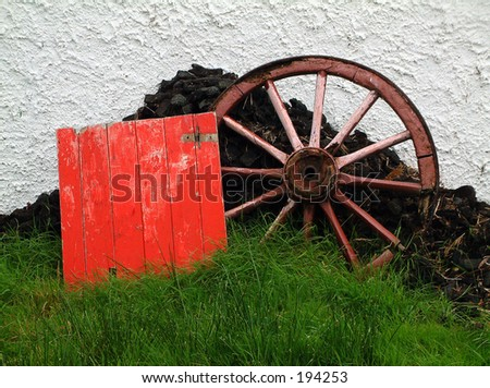 Cart wheel, Ireland - stock photo