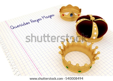 Carta a los reyes magos. Spanish tradition on january, 6 where the three wise men receive letters from children and so bring them gifts on the night before Epiphany. 3d render, 3d illustration