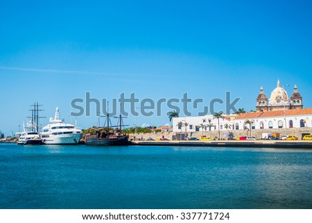 CARTAGENA, COLOMBIA - FEBRUARY 25, 2015: Beautiful view of the port and city of Cartagena de Indias - stock photo