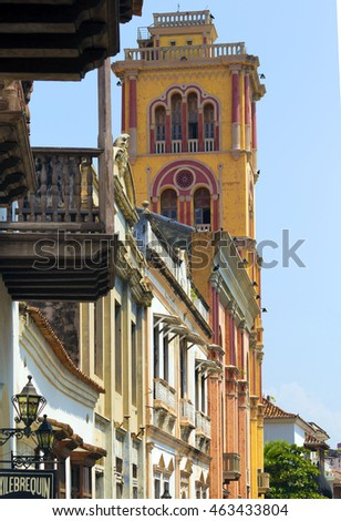 CARTAGENA, COLOMBIA - OCTOBER 29, 2015: Downtown houses in Cartagena. It is the fifth-largest city in Colombia and the second largest in the region, after Barranquilla.