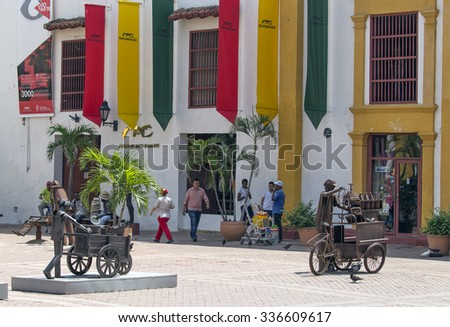 CARTAGENA, COLOMBIA - OCTOBER 29, 2015: Unidentified people in downtown of Cartagena. It is the fifth-largest city in Colombia and the second largest in the region, after Barranquilla.