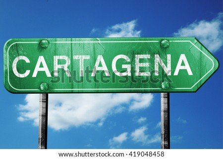 Cartagena, 3D rendering, a vintage green direction sign - stock photo