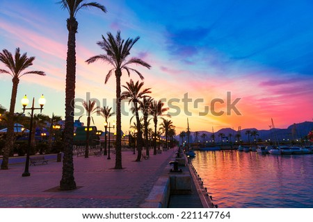 Cartagena Murcia port marina sunset in Mediterranean Spain - stock photo