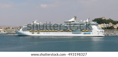 CARTAGENA, SPAIN: SEP 23, 2016 : Cruise Ship Independence of the Seas (Royal Caribbean)  docked in Port of Cartagena, Spain on sep 23th 2016.