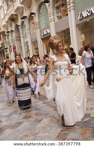 CARTAGENA, SPAIN. 18.September 2015. Festival of Carthaginians and Romans. The march through the city center.