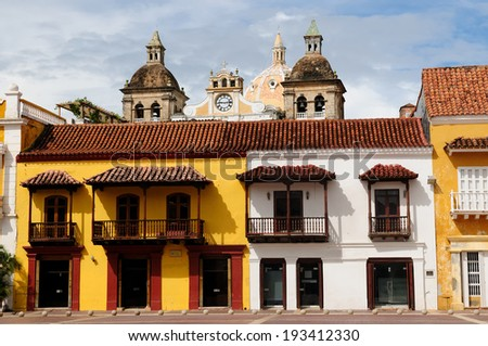 Cartagena - the colonial city in Colombia is a beautifllly set city, packed with historical monuments and architectural treasures. The picture present view on the colonial old town in Cartagena - stock photo