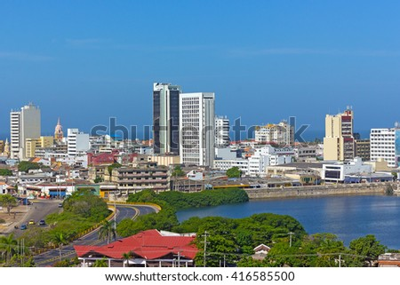 Cartagena walled city, Colombia. Panoramic view on the walled city with Caribbean Sea on horizon.