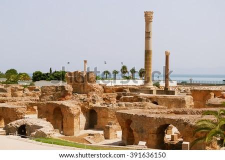 Carthago (Carthage), ruins of capital city of the ancient Carthaginian civilization. UNESCO World Heritage Site. Tunis, Tunisia. - stock photo