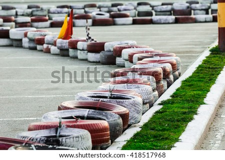 carting race safety barriers - stock photo