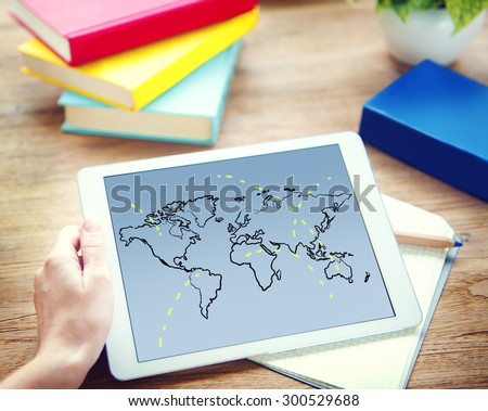Cartography Connection Earth World Map Concept - stock photo