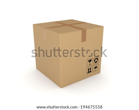 Carton box isolated on white background. - stock photo