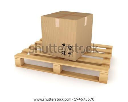 Carton box on a pallet.Isolated on white. - stock photo