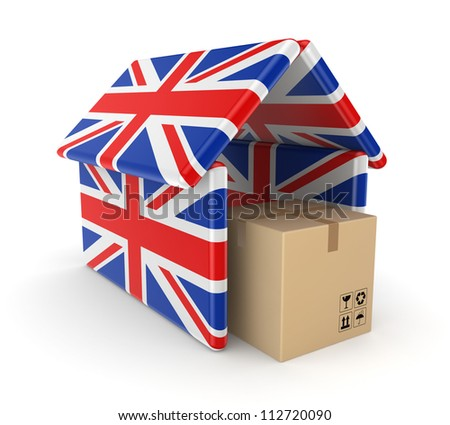 Carton box under the roof made of english flags.Isolated on white background.3d rendered. - stock photo