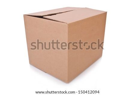 Carton boxes isolated on the white background - stock photo