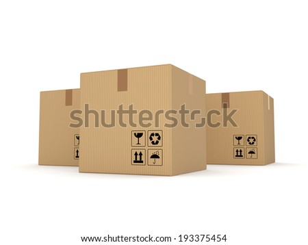Carton boxes isolated on white background. - stock photo