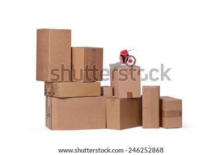 Carton boxes isolated over white background - stock photo