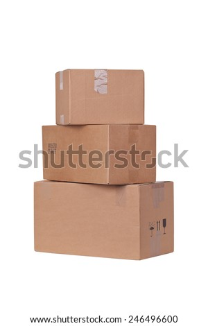 Carton boxes isolated over white background